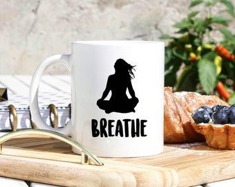 Breathe Mug - Meditation Gifts - Yoga Gifts - Gifts For Yogi - Stress Relief Gifts - Mindfulness Mug - Anxiety Relief Mug- Anti Anxiety Aids
