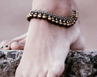 Bell anklet Boho gypsy jewelry Hippie style brass jingle Ethnic bronze Beach Belly dance Indian Tribal Ankle bracelet chain