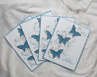 Blue Butterfly Note Card Set, Home made, Hand stamped, Greeting Cards