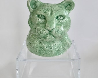 Handmade Green Ceramic Leopard Sculpture by NYC Artist Bebe Booth