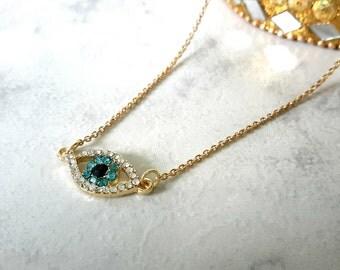 Evil Eye Necklace, Gold Evil Eye Necklace, Protection Necklace, Gold Evil Eye Pendant, Gold Chain Necklace, Hamsa Necklace, Crystal Evil Eye