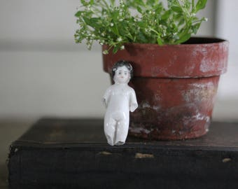 Little Salvaged Antique German Frozen Charlotte with Painted Hair