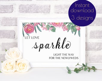 Wedding sparklers, sparkler send-off sign, rustic wedding reception decor, let love sparkle sign, wedding sparklers sign, wedding printable