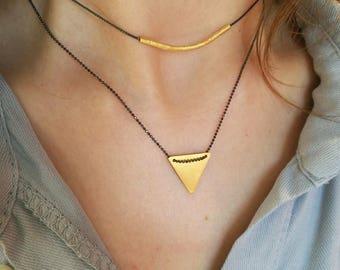 Greek HandmadeSilver 925o Gold Plated Triangle and Silver 925o Gold Plated Tube with Silver 925o Antique Chain