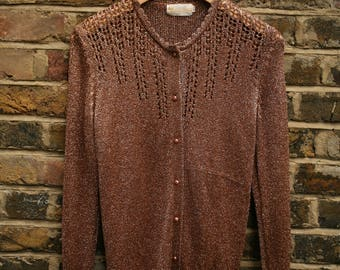 Vintage ladies bronze rose gold party sparkly glitter cardigan size medium 12-14