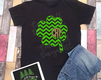 Chevron Clover Monogram Shirt; St. Patrick's Day Shirt; St. Paddy's Day Shirt; St. Patty's Day Shirt; Green Shirt; Monogram Shirt