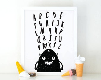 ABC Monster, Alphabet Monster, Little Monster, Monsters Print, Alphabet set, Nursery Wall Art, Alphabet Printable, Black and white, Alphabet