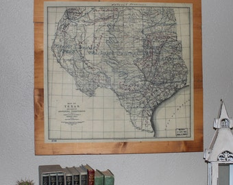 Texas Antique Map - Farmhouse Wall Decor - TX Strong - Historical Print - TX & Adjoining Territory - Reclaimed Wood - Christmas Gift for Him