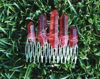 Red Quartz Hair Comb