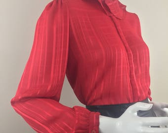 Vintage Hansworth LTD. of California Red Blouse with Ruffled Collar/Red on Red Checkered Print Fabric/Size 12 Large