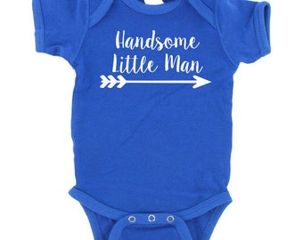 Handsome Little Man with Arrow -  Great for Baby Shower Gifts - Tons of Colors to Choose From!