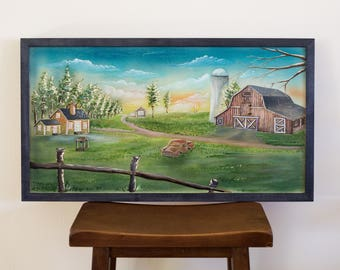 Old Farm Wood Carving Hand Made Wall Art Original Painting
