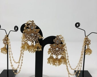 Indian Jewelry - Indian Earrings - Bollywood Jewelry - Bollywood Earrings - Indian Bridal Earrings - Kundan Earrings - Kundan Jewelry -