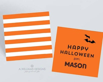 Personalized Halloween Gift tags/Halloween 3x3 gift tags/Orange personalized gift tags/Can be used as Enclosure cards or Gift tags