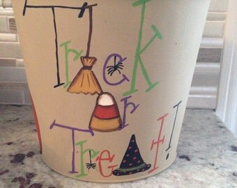 Hand Painted Trick or Treat Pail