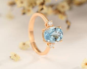 Unique Aquamarine Engagement Ring Rose Gold Antique Wedding Women Promise Bridal Oval Cut Birthstone Three Stone Diamond Anniversary Gift