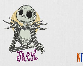 Jack Skellington machine embroidery design. The Nightmare Before Christmas. Jack Skellington Patch. Embroidery file