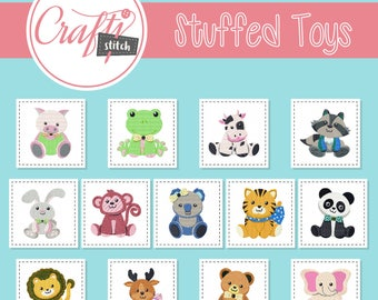 Stuffed Toys Collection of 13 Machine Embroidery Designs - Five Sizes: 3.5 to 5.5 inch - Instant Download!