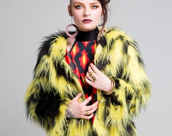 Shaggy Yellow and Black Faux Fur Coat
