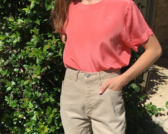 Minimalist Vintage Coral Silk Short Sleeve Blouse- Sz S
