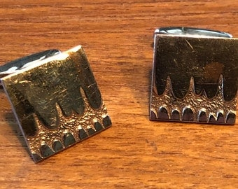 "midcentury modern 830 silver cufflinks with gold plating, asymmetrical ""fissure"" design, Finland"
