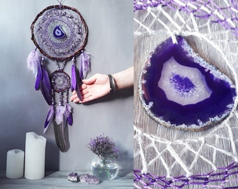 Large Dream Catcher Big Purple Dream Catcher Bedroom Purple And Grey Decor Amethyst Wall Decor Agate Gemstone Dream Catcher Ultra Violet