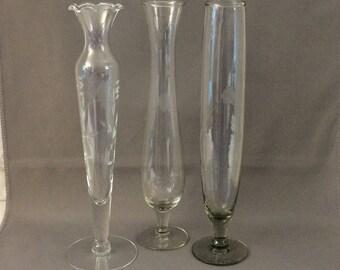 Etched Glass Bud Vases - Footed - Set of 3 - Vintage Flower Vase