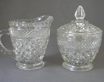 Wexford Clear Covered Sugar Bowl  and Creamer - Sugar and Creamer - Anchor Hocking Glass