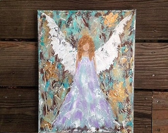 Angel Painting Original Canvas Wall Art Guardian Angel Home Decor Hand Painted