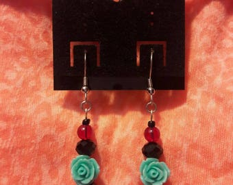 Deep Red and Turqoise Rose Earrings