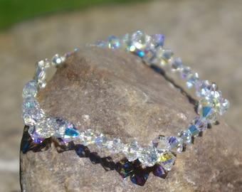 Swarovski AB Bracelet Clear Crystal Bracelet Bridal Crystal Bracelet Swarovski Jewelry Everyday Bracelet Bridesmaid Bracelet Sterling Silver