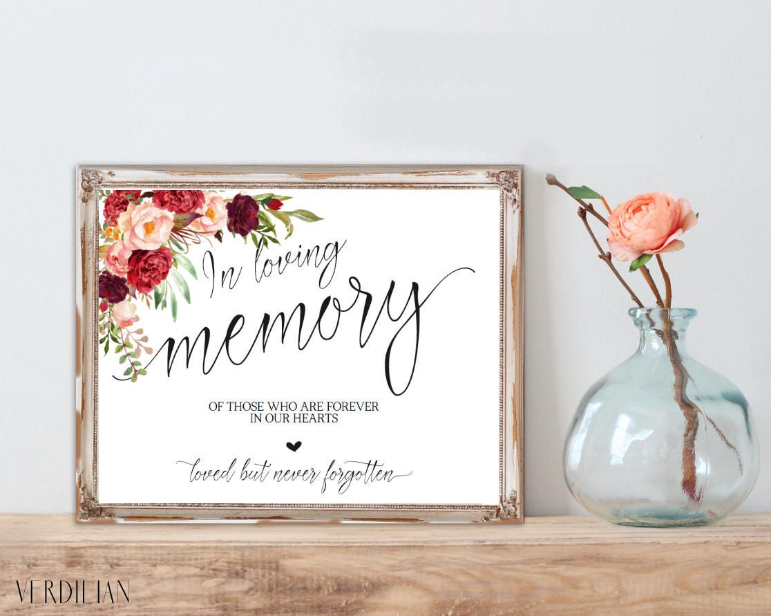 In Loving Memory Wedding Sign Template, Memorial Table Sign ...
