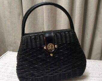 Black 1950's Faux Wicker Handbag Vintage fifties 50's