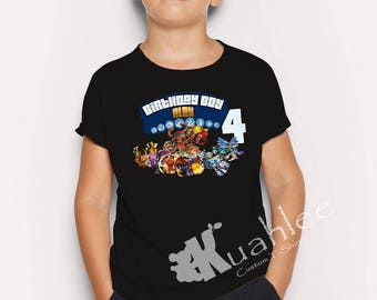 Skylander Boy Birthday Party Shirt, Personalized shirts, Custom Shirts, available in black for boy