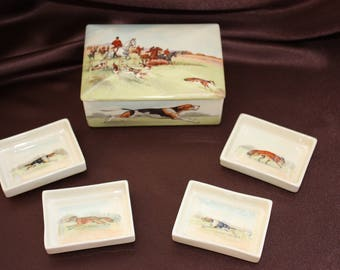 Royal Doulton Fox Hunting Series Ware Bridge Set with four small ashtrays 8148 Rare 1930's collectors piece