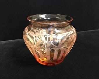 Hunt Glass Etched Vase
