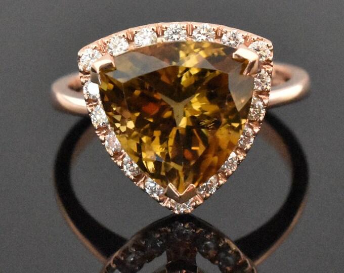 14K Rose Gold Tourmaline and Diamond Ring | Engagement Ring | Statement Ring | Diamond Halo | Handmade Fine Jewelry | Wedding Ring