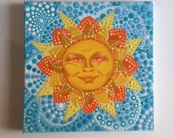 Mandala sun, original art, wall art, sun painting, ready to hang, OOAK, christmas, solstice,  hippie gift, boho home, inspirational painting