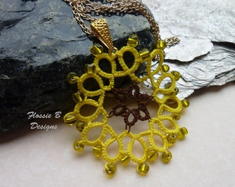 Sunflower necklace, flower pendant, summer jewellery, festival fashion, tatted pendant, gift for her, birthday present, boho necklace