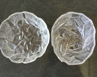 SALE 2 Hoya Japan textured crystal serving bowls Mid century modern Vintage crystal