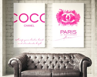 Set of 2 Chanel posters. Chanel Sign, Coco Chanel Quotes. Coco Chanel Wall Art. Fashion Set Prints. Chanel Pink watercolor. Chanel Prints.
