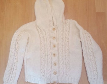 Children's Cable Knit Hooded Aran Jacket