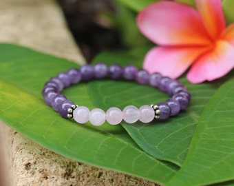 No. 11 Amethyst, Rose Quartz and Sterling SIlver Bracelet (Handmade)