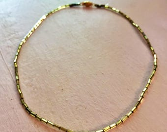 Thin Gold Choker | Minimalist Beaded Necklace