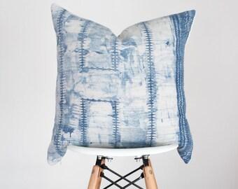 19 x 19 Blue Hmong Batik Fabric Pillow Cover, Boho Pillow Cover