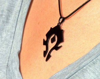 World of Warcraft Black Horde Emblem Inspired Necklace