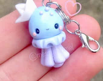 Cute Kawaii Jellyfish Pastel Purple Blue Polymer Clay Pendant Planner Charm Phone Charm Purse Charm Zipper Charm Keychain Accessory