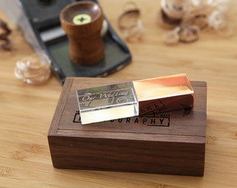 Crystal USB Flash Drive & Personalized USB Wood Box Set - Custom Engraved USB