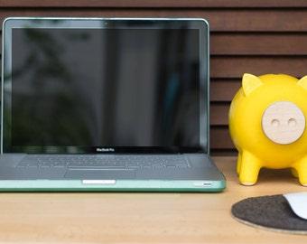 Yellow piggy bank, ceramic piggy bank, large piggy bank, office decor, office desk accessories, office gifts, office desk, office supplies