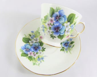 Vintage Queen Anne Bone China Cup and Saucer with Blue Pansies and Forget-Me-Nots, Made in England - Pattern 8609